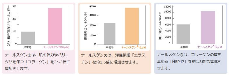 ナールスゲンのコラーゲン、エラスチン、HSP47への効果に関するデータ