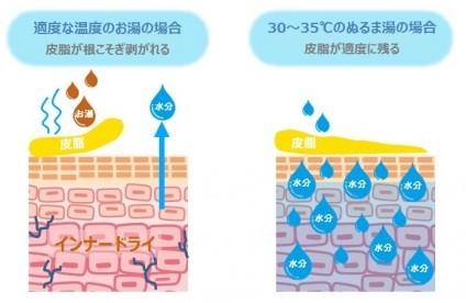 インナードライ肌と洗顔の関係を示す図