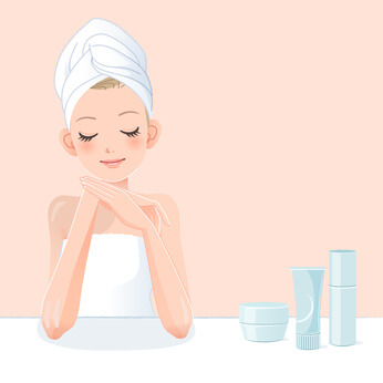 Cute young woman in towel applying moisturizer after bath. File contains Gradients, Clipping mask, Blending tool.