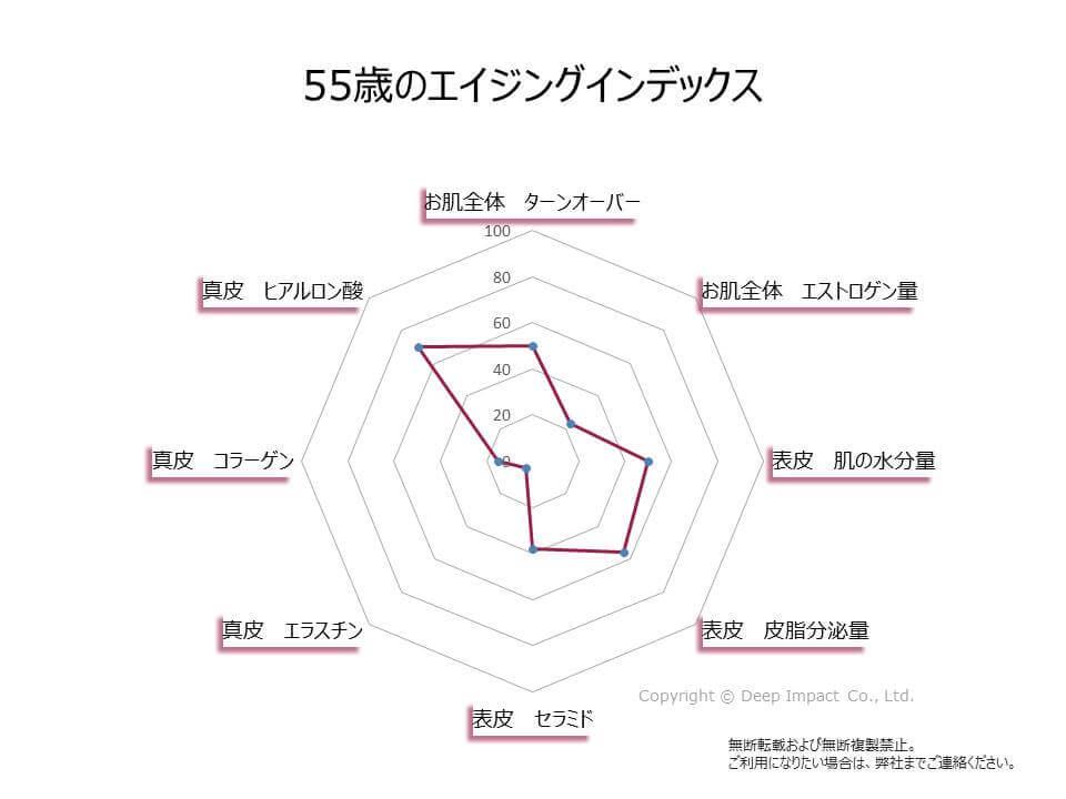 55歳のお肌のエイジングインデックスの図