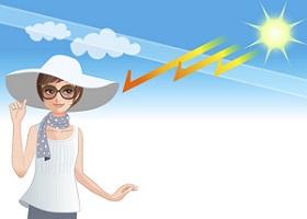 目から入った紫外線でお肌が日焼けするのを防ぐ女性