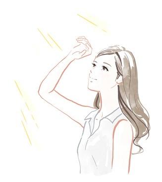 光老化の原因となる紫外線を浴びている女性