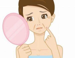 口元のほうれい線に悩む女性