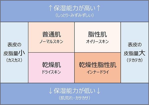 お肌の質・タイプの分類の表