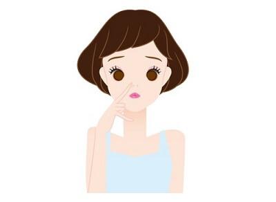 毛穴を気にする女性のイラスト