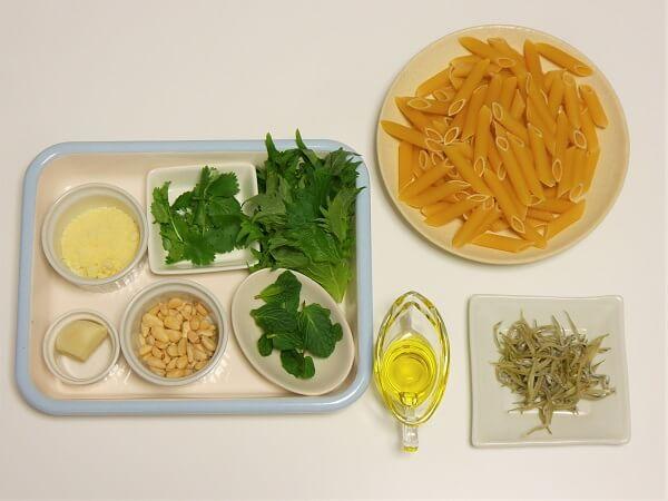 4月のレシピ【大葉とミントのパスタ】の材料