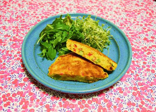 5種の野菜が入ったお食事パンケーキの完成写真