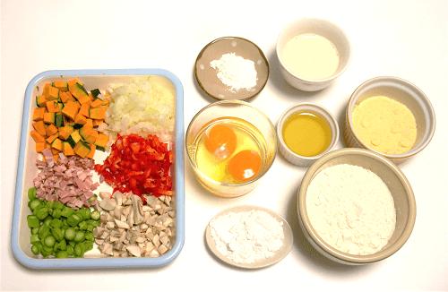 5種の野菜が入ったお食事パンケーキの材料の写真