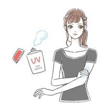 (ジメチコン/メチコン)コポリマー配合化粧品を使う女性