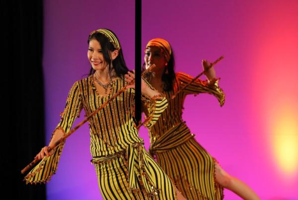 趣味のベリーダンスをする野口美沙希さん