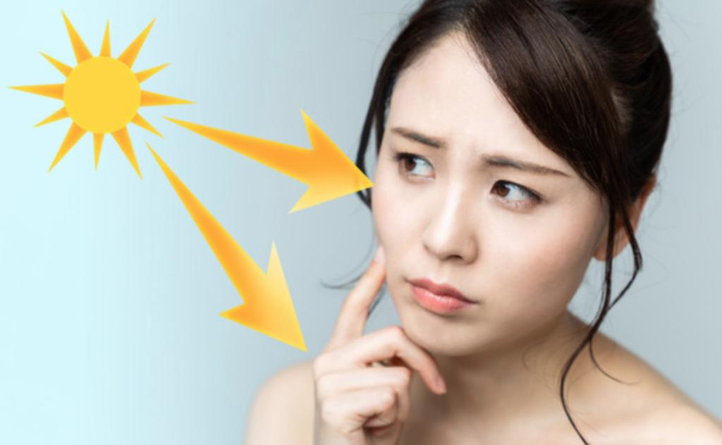 紫外線による肌老化した女性