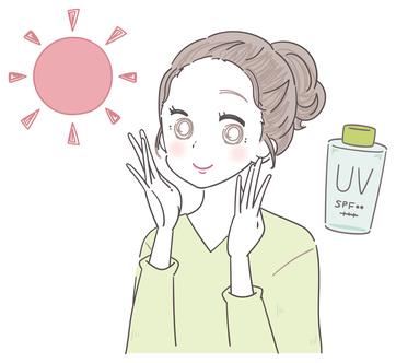 目元・口元の紫外線対策をする女性